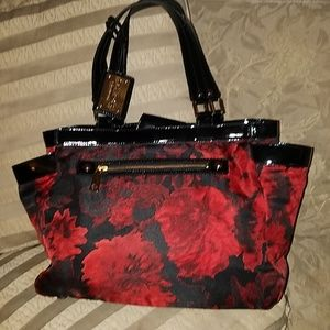 Talbots red and black floral purse large new